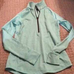 Light blue exercise long sleeve quarter zip up